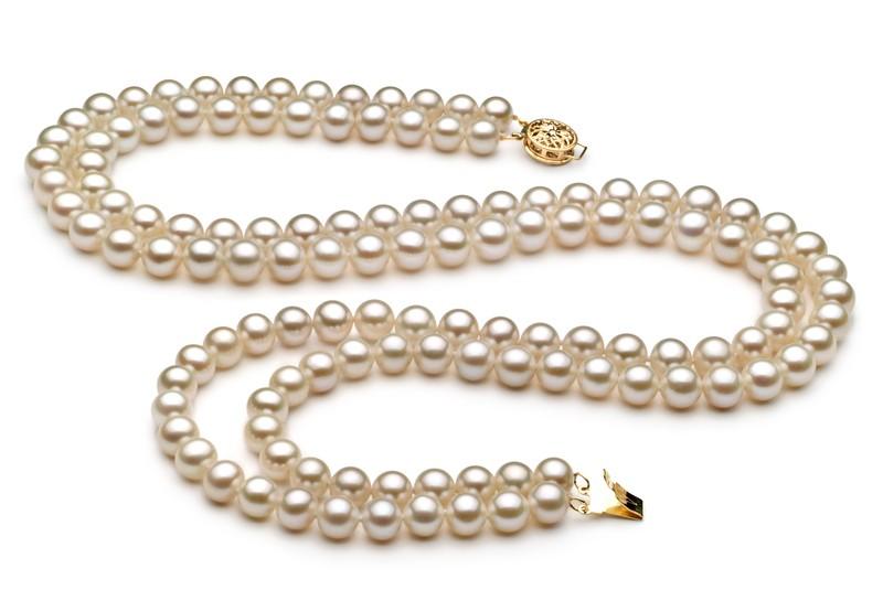 6-7mm AA Quality Freshwater Cultured Pearl Set in Liska White
