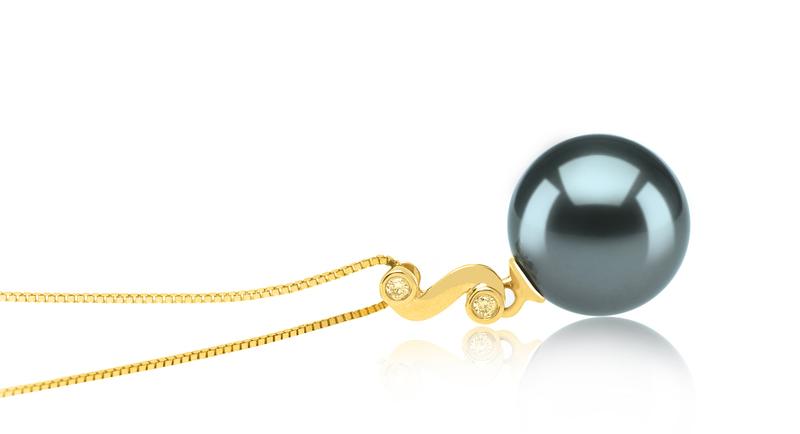 10-11mm AAA Quality Tahitian Cultured Pearl Pendant in Gisela Black