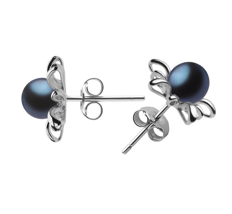 6-7mm AAAA Quality Freshwater Cultured Pearl Earring Pair in Jamelia Black