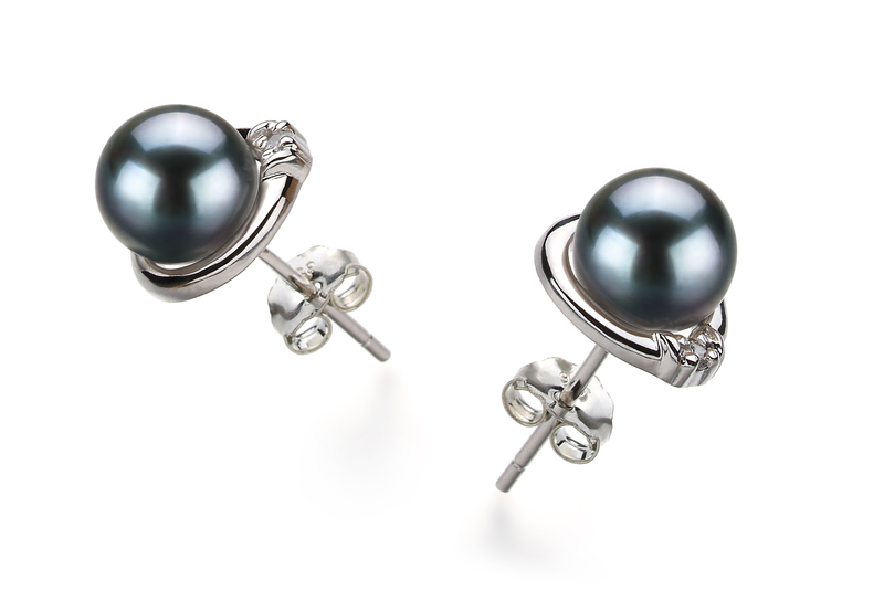 Jocelyn Black 6-7mm AA Quality Japanese Akoya 925 Sterling Silver Cultured Pearl Earring Pair Pearl Earring Set