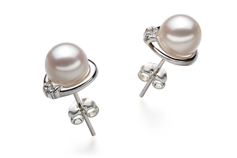 Jocelyn White 6-7mm AA Quality Japanese Akoya 925 Sterling Silver Cultured Pearl Earring Pair Pearl Earring Set