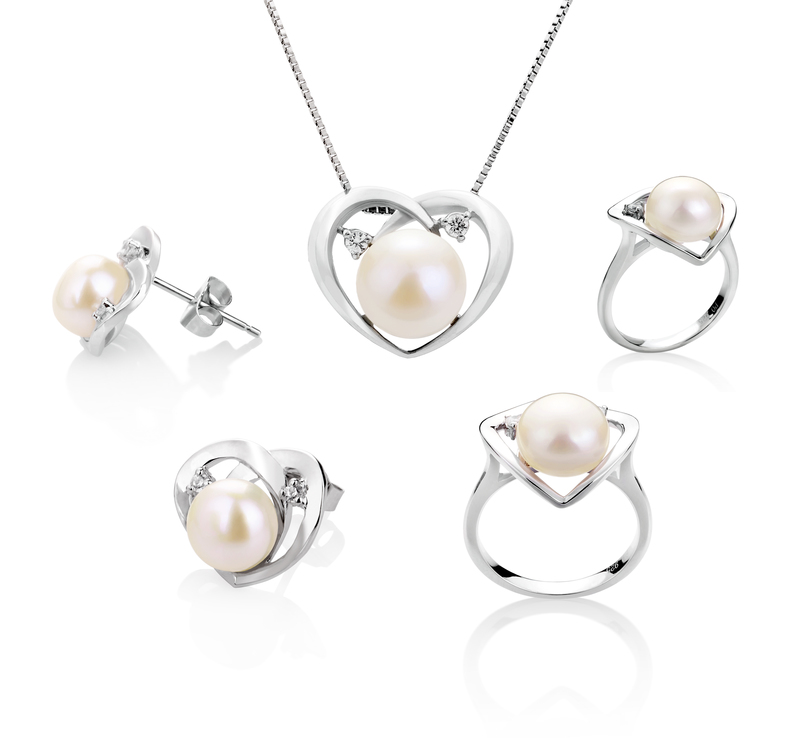 Katie Heart White 7-10mm AA Quality Freshwater 925 Sterling Silver Pearl Set