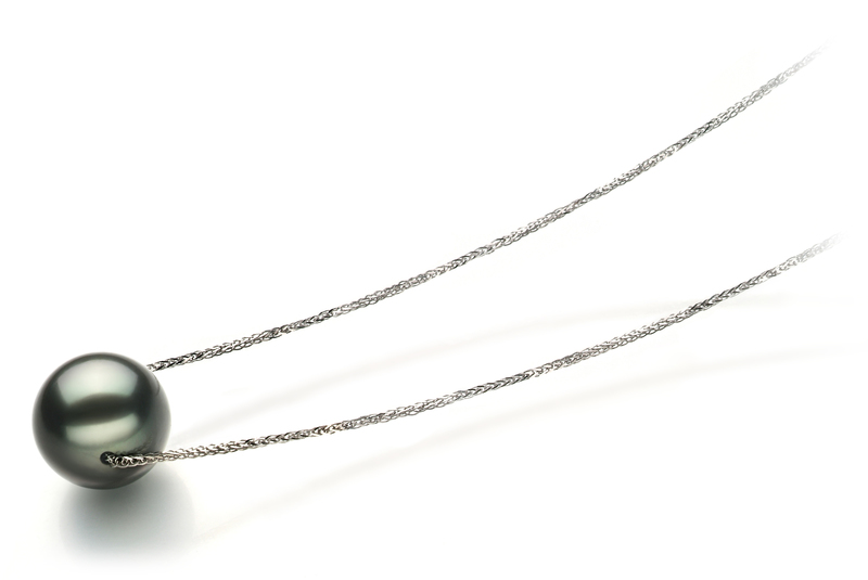 12-13mm AA Quality Tahitian Cultured Pearl Pendant in Kristine Black