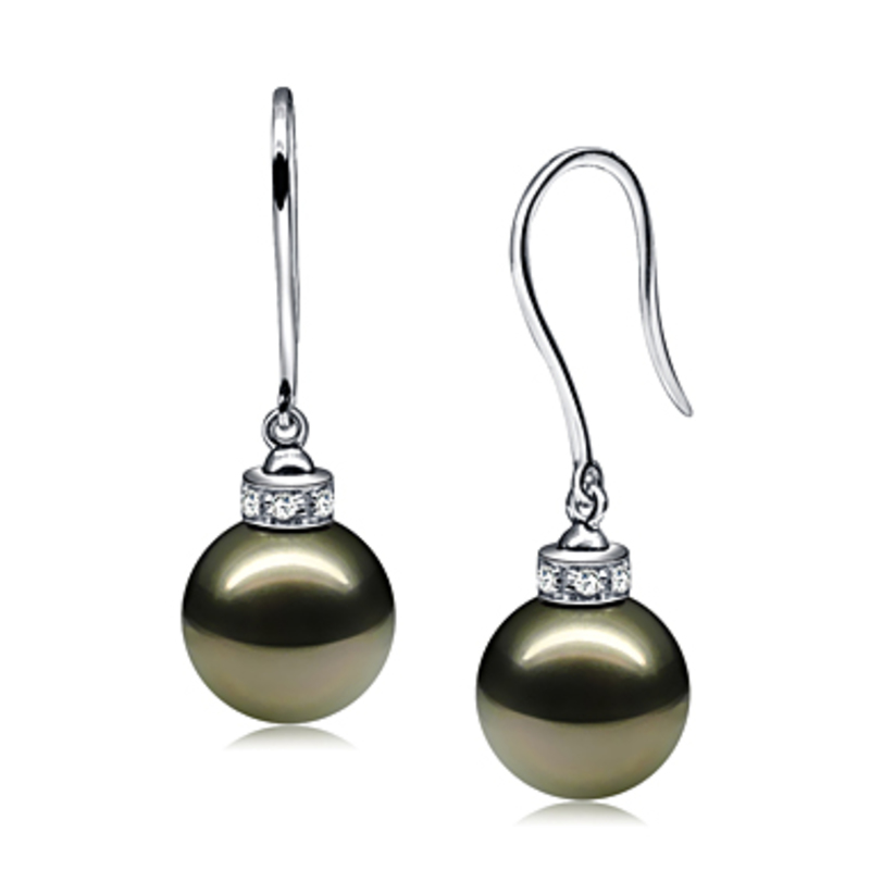 9-10mm AAA Quality Tahitian Cultured Pearl Earring Pair in Merry Black