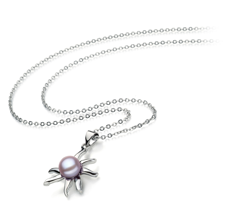 7-8mm AA Quality Freshwater Cultured Pearl Pendant in Nina Lavender