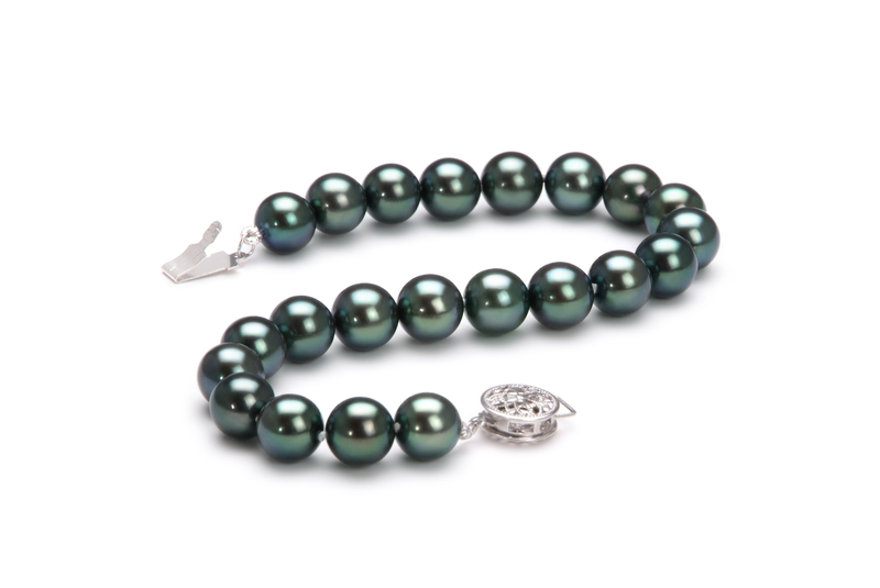 7.5-8mm AAA Quality Japanese Akoya Cultured Pearl Bracelet in Black