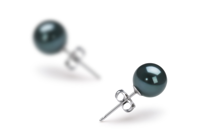 Black 6-7mm AAA Quality Japanese Akoya Cultured Pearl Earring Pair Pearl Earring Set