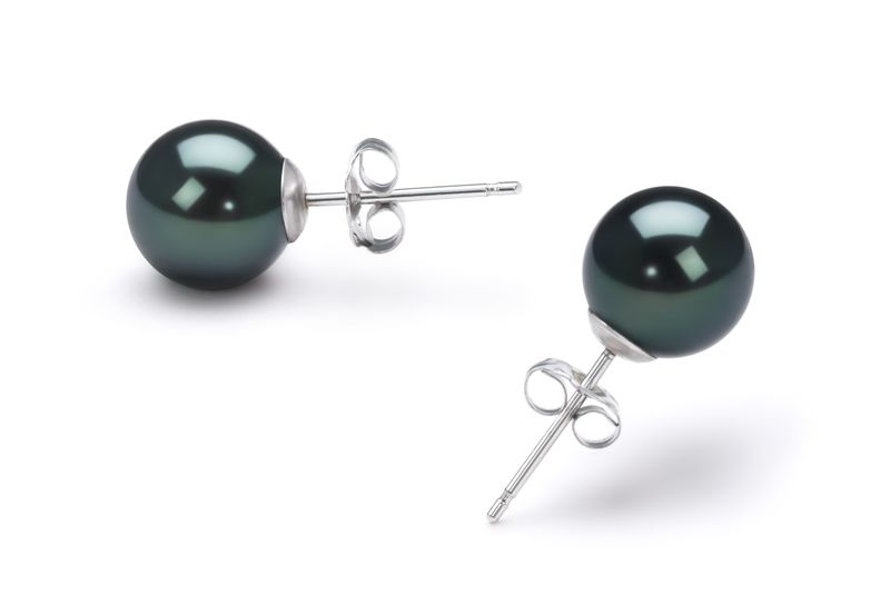 Black 7-8mm AA Quality Japanese Akoya Cultured Pearl Earring Pair Pearl Earring Set