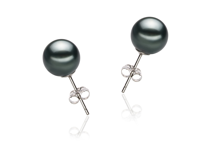 8-9mm AAA Quality Tahitian Cultured Pearl Earring Pair in Black