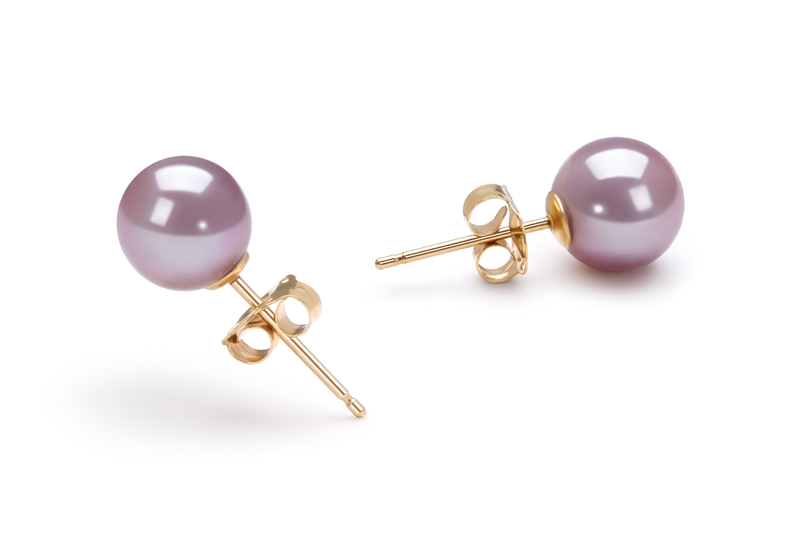 6-7mm AAAA Quality Freshwater Cultured Pearl Earring Pair in Lavender
