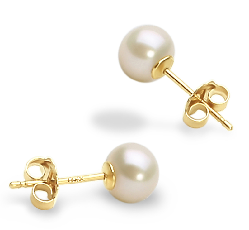 5-6mm AAA Quality Freshwater Cultured Pearl Earring Pair in White