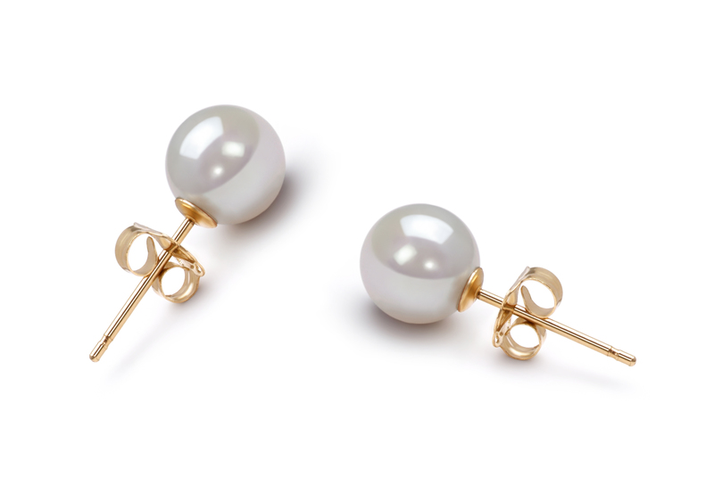 White 6-7mm AA Quality Japanese Akoya Cultured Pearl Earring Pair Pearl Earring Set