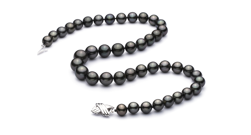 9.5-11mm AA+ Quality Tahitian Cultured Pearl Necklace in Black