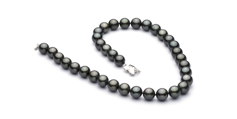 10.9-13.8mm AAA Quality Tahitian Cultured Pearl Necklace in Black