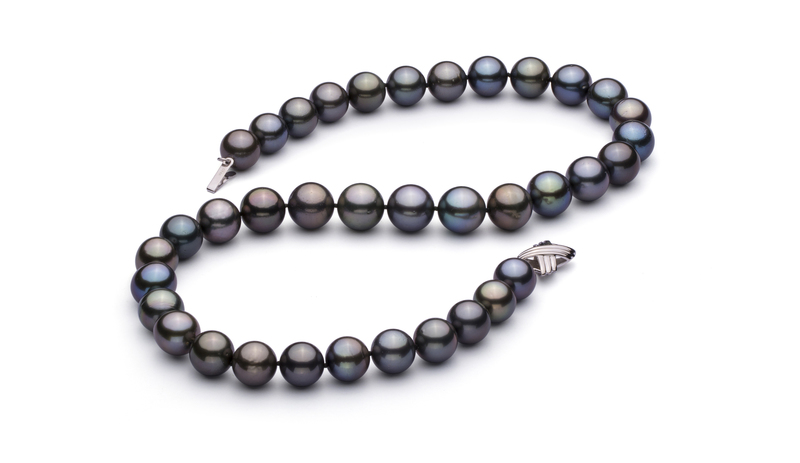 11.1-12.5mm AAA Quality Tahitian Cultured Pearl Necklace in Multicolour