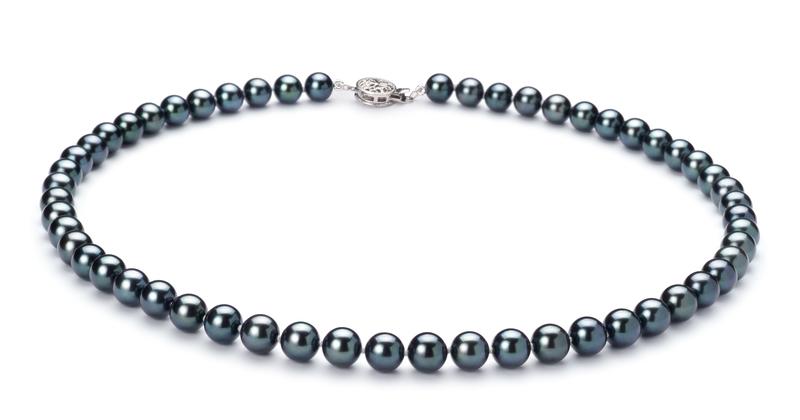 6.5-7mm AA Quality Japanese Akoya Cultured Pearl Set in Black