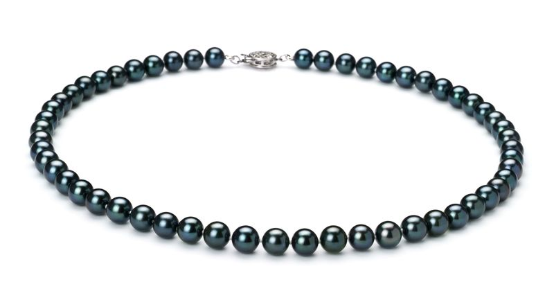 6.5-7mm AAA Quality Japanese Akoya Cultured Pearl Set in Black