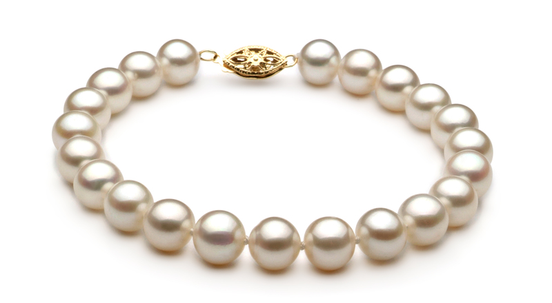 7.5-8.5mm AA Quality Freshwater Cultured Pearl Set in White