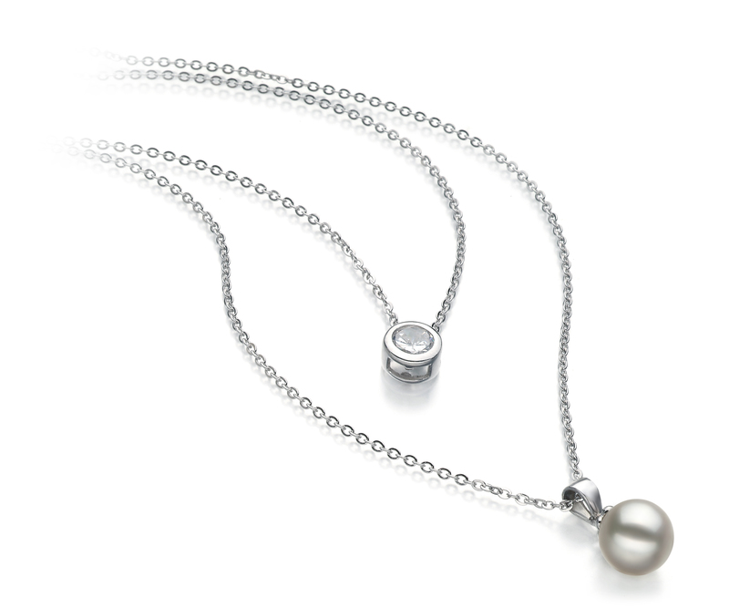 7-8mm AA Quality Japanese Akoya Cultured Pearl Necklace in Ramona White
