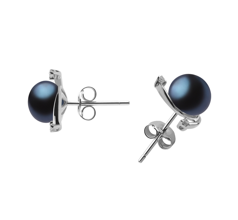 7-8mm AA Quality Freshwater Cultured Pearl Earring Pair in Selene Black