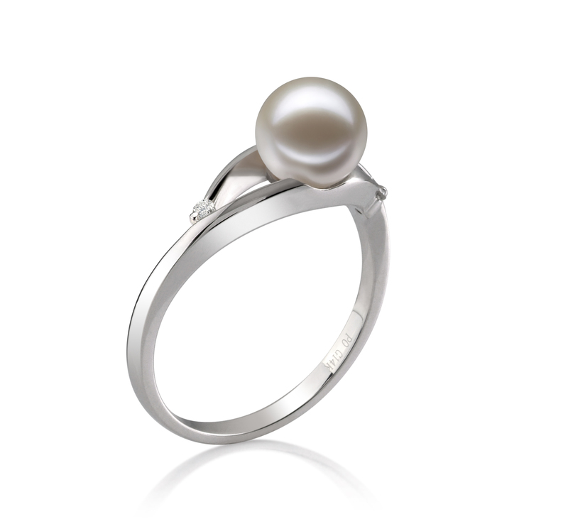6-7mm AAAA Quality Freshwater Cultured Pearl Ring in Tanya White