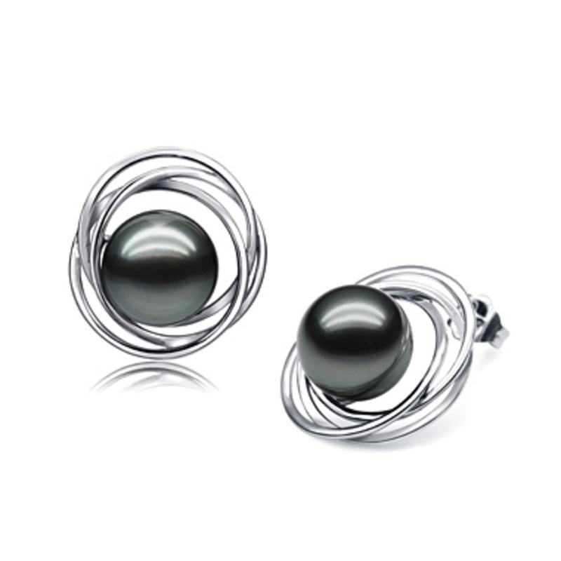 9-10mm AAA Quality Tahitian Cultured Pearl Earring Pair in Triple Circle Stud Black