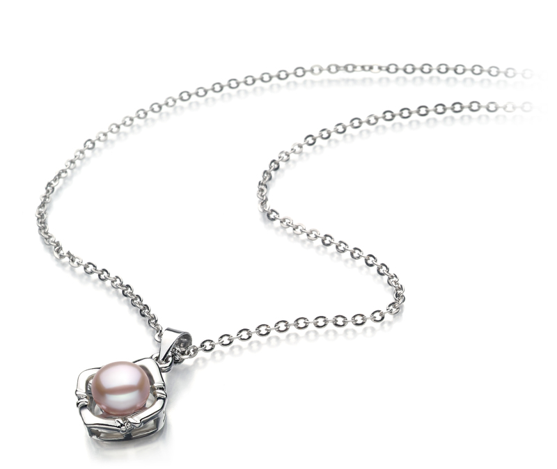6-7mm AA Quality Freshwater Cultured Pearl Pendant in Vera Lavender
