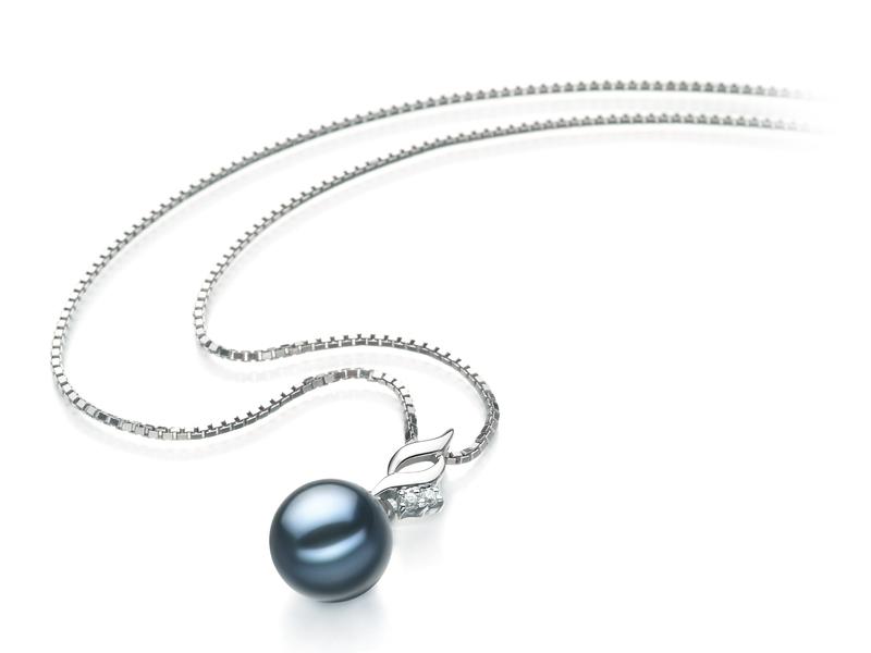 7-8mm AA Quality Japanese Akoya Cultured Pearl Pendant in Zalina Black