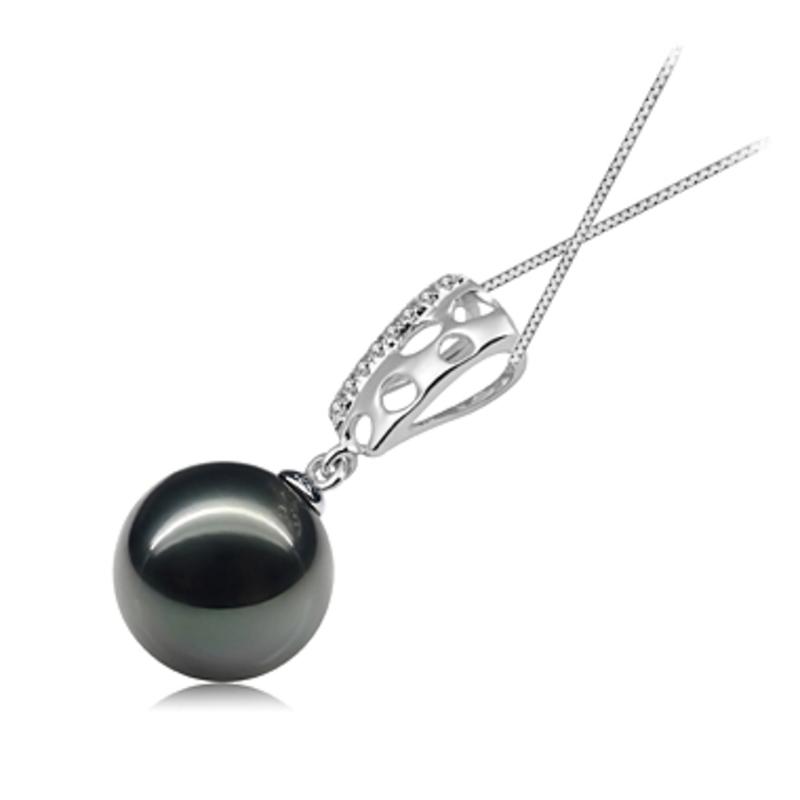 10-11mm AAA Quality Tahitian Cultured Pearl Pendant in Zuella Black