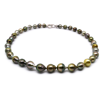 8-10mm Baroque Quality Tahitian Cultured Pearl Necklace in 17-inch Multicolour