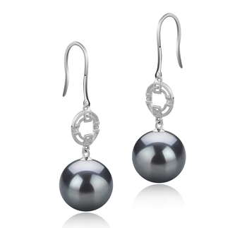 10-11mm AAA Quality Tahitian Cultured Pearl Earring Pair in Adelle Black