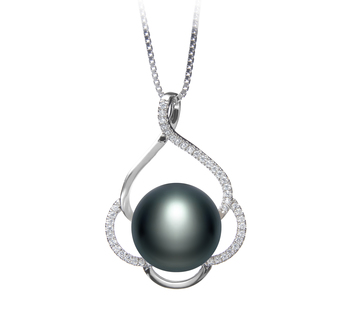 12-13mm AA Quality Freshwater Cultured Pearl Pendant in Alyssa Black
