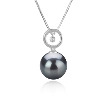 11-12mm AAA Quality Tahitian Cultured Pearl Pendant in Aurora Black