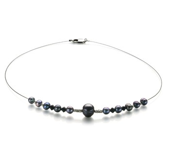 Bertha Black 6-10mm A Quality Freshwater Pearl Necklace