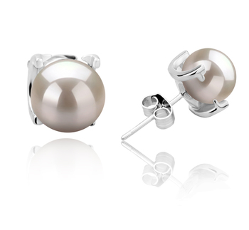 7-8mm AAAA Quality Freshwater Cultured Pearl Earring Pair in Britt White