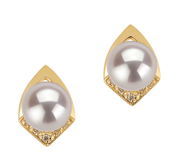 7-8mm AAA Quality Japanese Akoya Cultured Pearl Earring Pair in Catrina White
