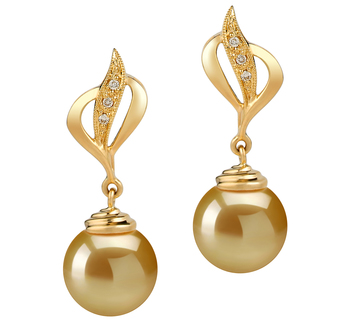 10-11mm AAA Quality South Sea Cultured Pearl Earring Pair in Damica Gold