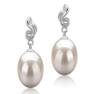 9-10mm AAA Quality Freshwater Cultured Pearl Earring Pair in Deborah White