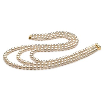 6-7mm AA Quality Freshwater Cultured Pearl Necklace in Dianna Collection - Triple Strand White