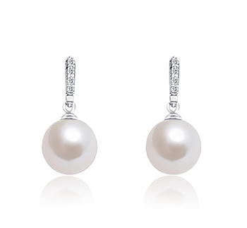 11-12mm AA+ Quality Freshwater - Edison Cultured Pearl Earring Pair in Edison Dangle White