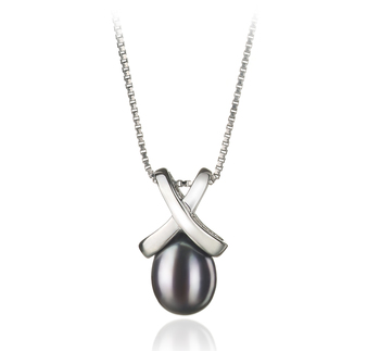 7-8mm AA Quality Freshwater Cultured Pearl Pendant in Empress Black
