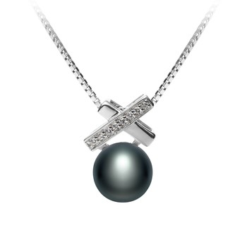 7-8mm AAA Quality Freshwater Cultured Pearl Pendant in Empress Black
