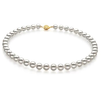 8.5-9mm Hanadama - AAAA Quality Japanese Akoya Cultured Pearl Necklace in Hanadama 16-inch White
