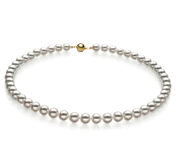 7.5-8mm Hanadama - AAAA Quality Japanese Akoya Cultured Pearl Necklace in Hanadama 16-inch White