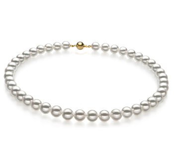 9-9.5mm Hanadama - AAAA Quality Japanese Akoya Cultured Pearl Necklace in Hanadama 16-inch White