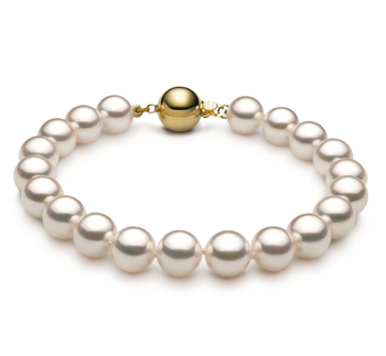 7.5-8mm Hanadama - AAAA Quality Japanese Akoya Cultured Pearl Bracelet in Hanadama 8-inch White