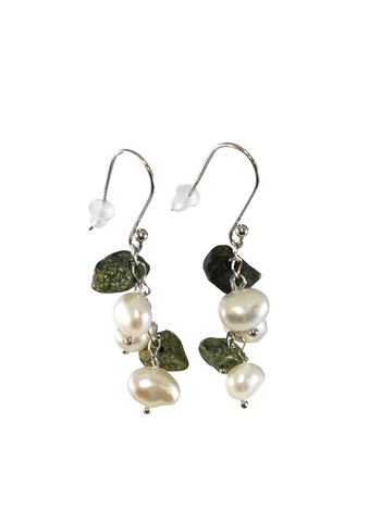 5.5-8.5mm A Quality Freshwater Cultured Pearl Earring Pair in Handpicked Freshwater Cultured Pearl & Green Jasper Dangle Earrings Sterling Silver White