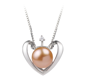 9-10mm AA Quality Freshwater Cultured Pearl Pendant in Heart Pink