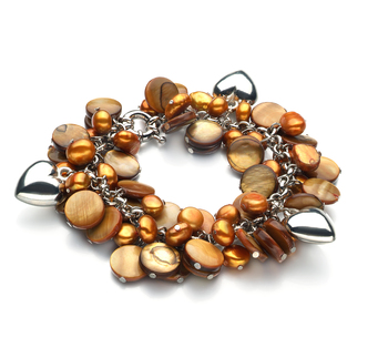 6-7mm A Quality Freshwater Cultured Pearl Bracelet in Honey - Pearl with Heart Charms Champagne