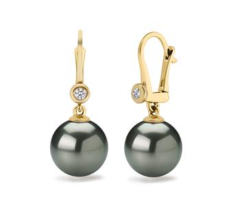 10-11mm AAA Quality Tahitian Cultured Pearl Earring Pair in Illuminate Black